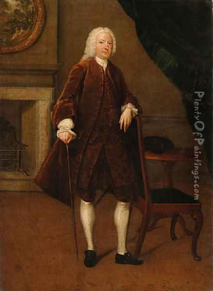 Portrait of a gentleman, full-length, in a brown coat and waistcoat, his left arm resting on a chair, his right hand holding a cane, in an interior Oil Painting - Arthur Devis