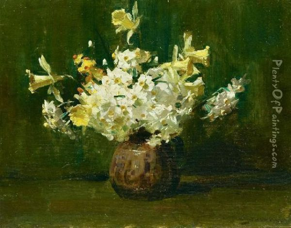 A Bunch Of Flowers Oil Painting - Arthur Ernest Streeton