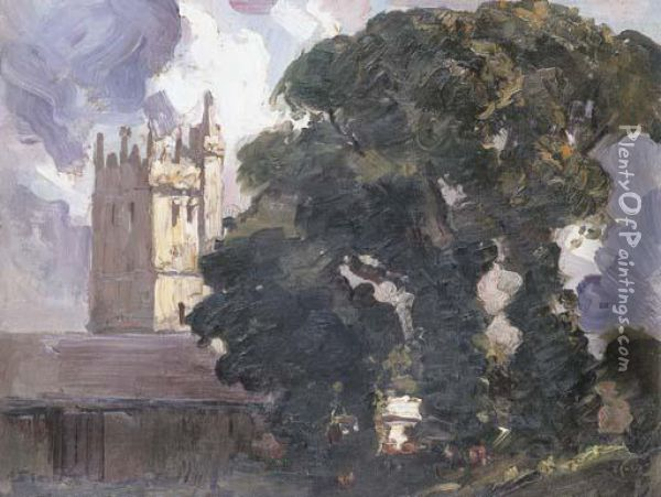 The Abbey And The Oak Tree Oil Painting - Arthur Ernest Streeton