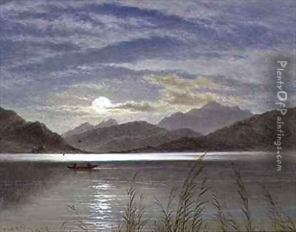 Lake Scene by Moonlight Oil Painting - Arthur Gilbert