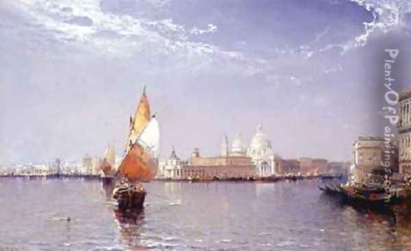 Venetian Canal Scene with the Salute in the distance Oil Painting - Arthur Joseph Meadows