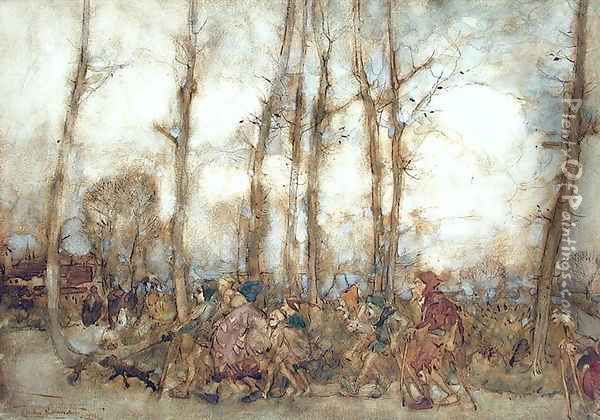The Beggars Are Coming to Town, 1912 Oil Painting - Arthur Rackham