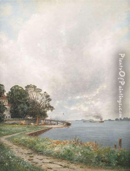 At The Lower Elbe With Landing Stage Zollenspieker. Oil Painting - Ascan Lutteroth