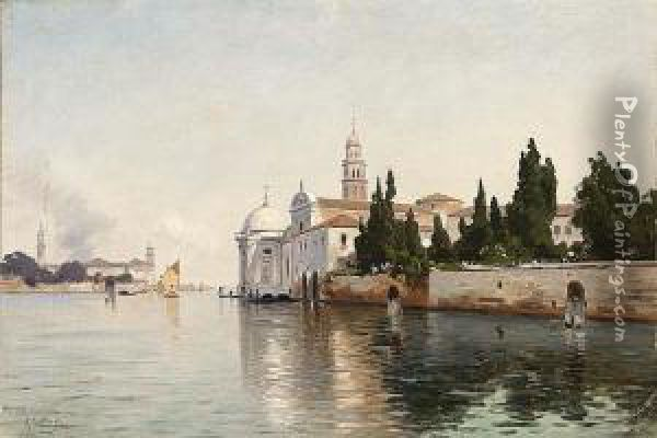Early Morning On The Campo Santo Venice Oil Painting - Ascan Lutteroth