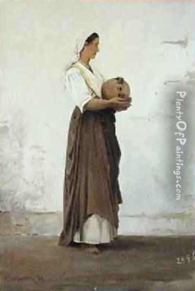 Girl from Capri 1871 Oil Painting - Ascan Lutteroth