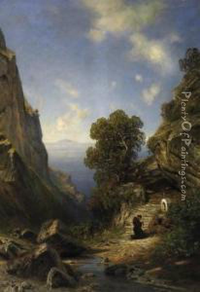 In A Cliff Gorge On Capri.  Praying Monk On The Stations Of The Cross. Signed Bottom Right: A.  Lutteroth Oil Painting - Ascan Lutteroth