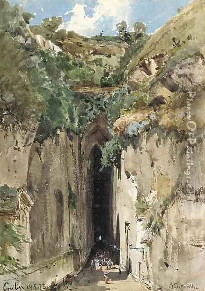 The caves at Posillipo Oil Painting - Ascan Lutteroth