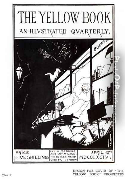 Front cover of the prospectus for 'The Yellow Book', 1894 Oil Painting - Aubrey Vincent Beardsley