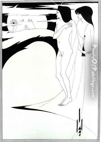 The Woman in the Moon Oil Painting - Aubrey Vincent Beardsley