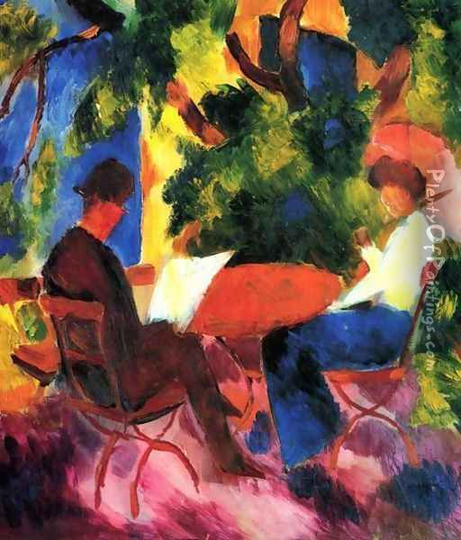 Couple At The Garden Table Oil Painting - August Macke