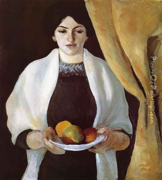 Portrait with Apples- Wife of the Artist 1909 Oil Painting - August Macke