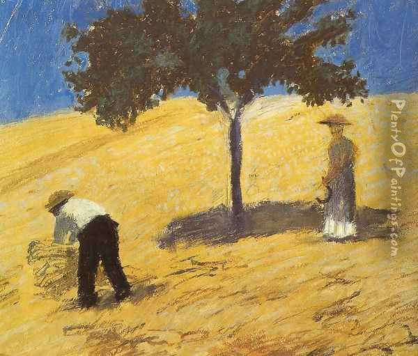 Tree In The Grain Field Oil Painting - August Macke