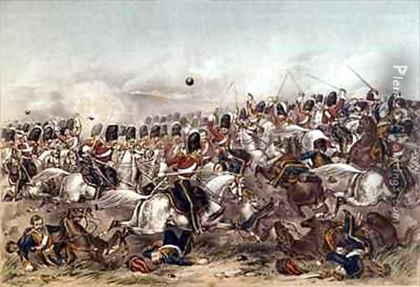 Battle of Balaclava Brilliant charge of the Scots Greys Oil Painting - Augustus Butler