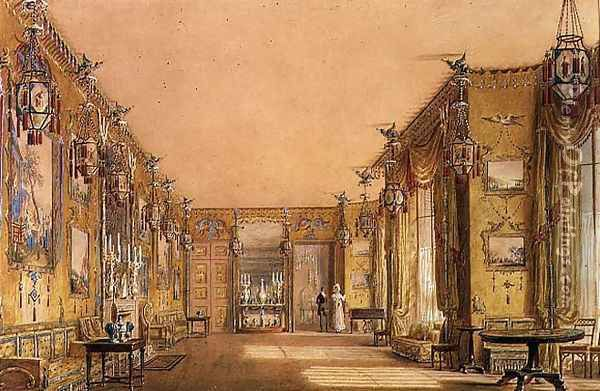 Interior of the Yellow Drawing Room at Brighton Pavilion, c.1820 Oil Painting - Augustus Charles Pugin