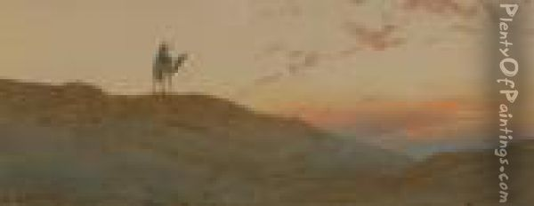 Camel Rider In The Desert At Sunset Oil Painting - Augustus Osborne Lamplough