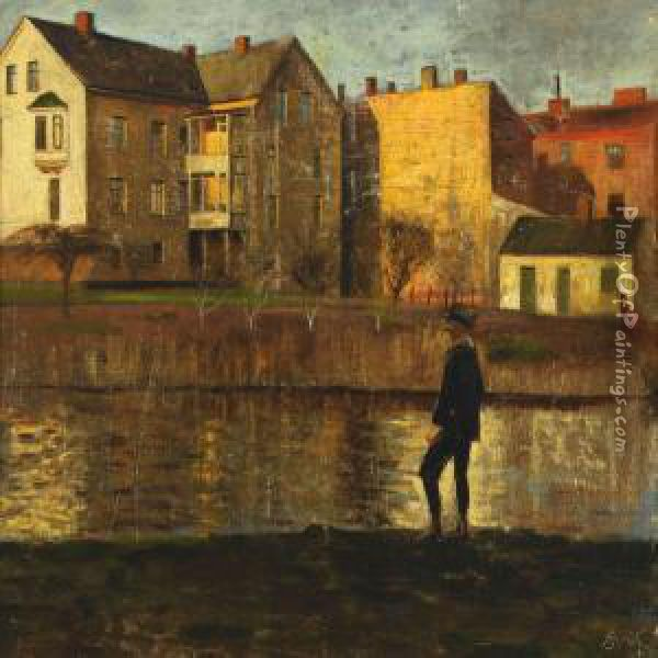 Autumn Scenery With Houses And A Man By A Lake Oil Painting - Axel Soeborg