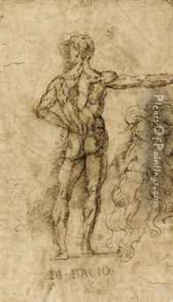 A Standing Male Nude, Seen From Behind, And A Profile Of A Man Oil Painting - Baccio Bandinelli