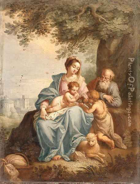 The Holy Family with Saint John the Baptist in a Landscape Oil Painting - Balthasar Beschey