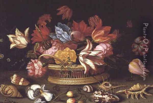A Basket of Flowers with Shells on a Ledge Oil Painting - Balthasar Van Der Ast
