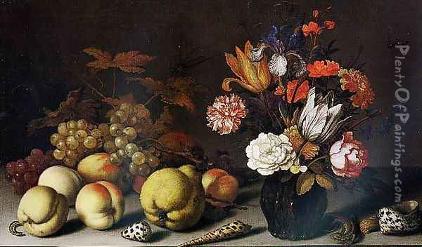 A Still-Life of Fruit, Flowers and Shells with a Lizard, Caterpillar and Dragonfly Oil Painting - Balthasar Van Der Ast