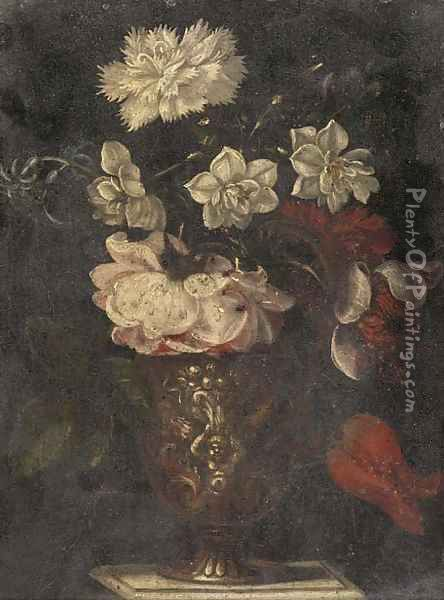 A rose, carnation, narcissi and other flowers in a vase on a table Oil Painting - Balthasar Van Der Ast