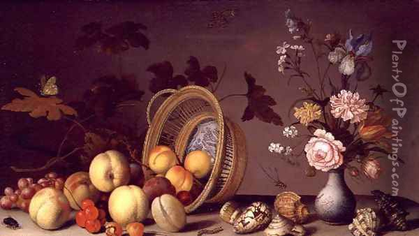 Apples, cherries, grapes, plums and a vase of flowers Oil Painting - Balthasar Van Der Ast
