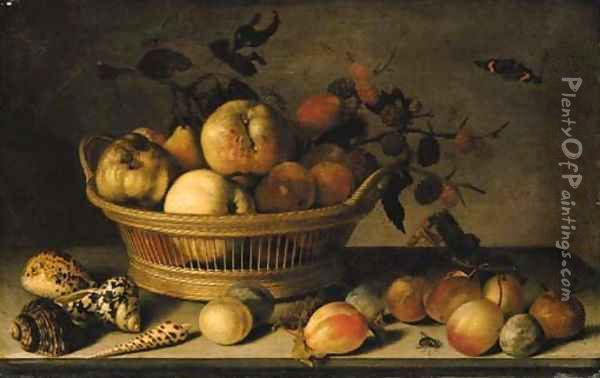 Apples, pears and a branch of mulberries in a basket, with plums, shells, a wasp, a Red Admiral, a grasshopper, a caterpillar and a fly on a ledge Oil Painting - Balthasar Van Der Ast