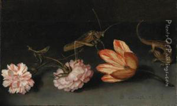 Carnations, A Parrot Tulip, A Grasshopper And A Lizard On Aledge Oil Painting - Balthasar Van Der Ast