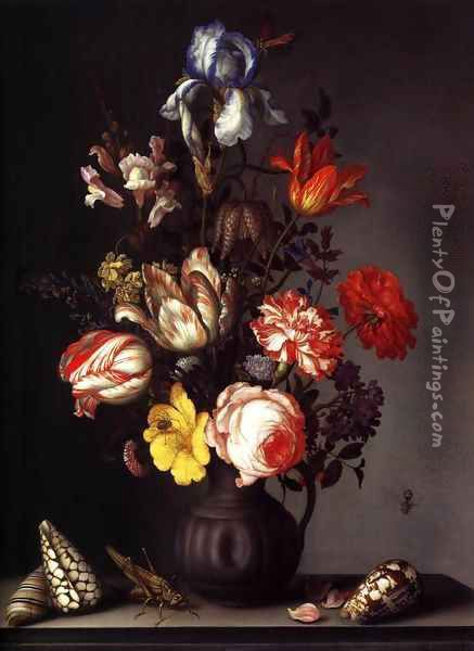 Flowers in a Vase with Shells and Insects 2 Oil Painting - Balthasar Van Der Ast