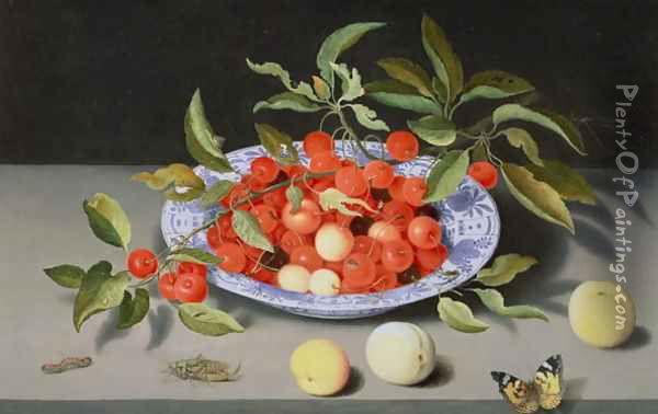 Still Life of Cherries and Peaches Oil Painting - Balthasar Van Der Ast
