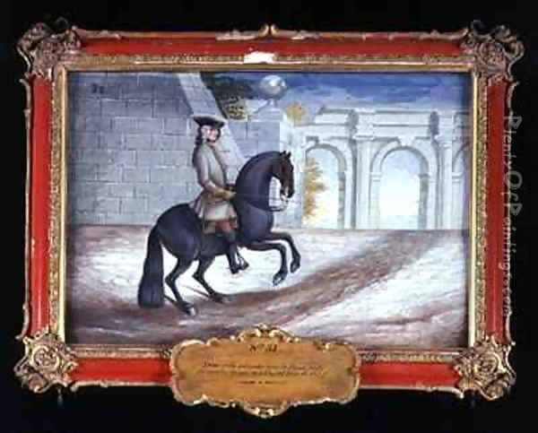 No 31 An iron grey horse of the Spanish Riding School performing a half turn to the left Oil Painting - Baron Reis d' Eisenberg