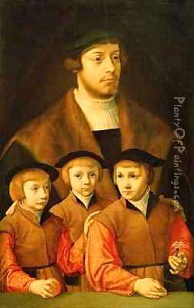 Portrait of a Man and His Three Sons Oil Painting - Bartholomaeus, the Elder Bruyn