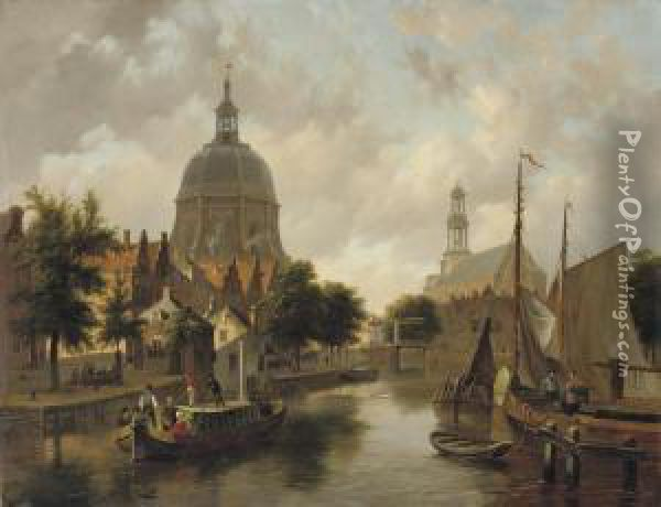 A Capriccio View Of Leiden, With The Marekerk And The Oudesingel Oil Painting - Bartholomeus J. Van Hove