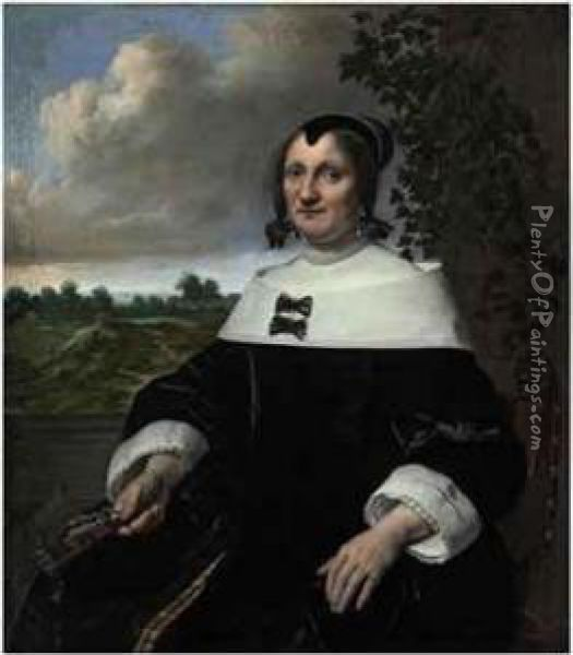 Portrait Of A Lady,  Three-quarter-length, Seated, Before Abalustrade, Holding A Fan, A  Landscape With Bleaching Fields And Aview Out To Sea Beyond Oil Painting - Bartholomeus Van Der Helst