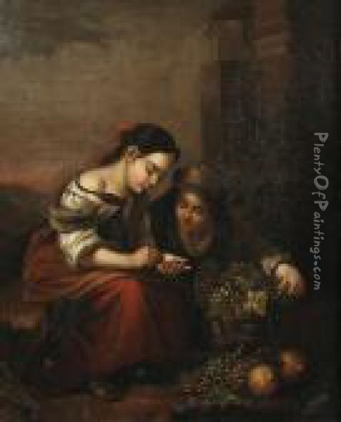 Boys Playing Dice; The Little Fruit Seller, A Pair Oil Painting - Bartolome Esteban Murillo