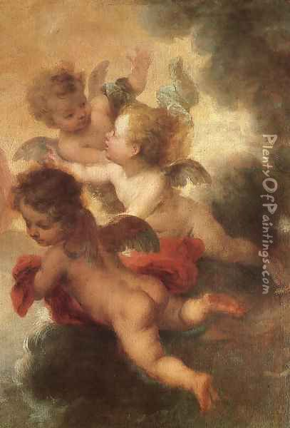 The Two Trinities (detail of angels) Oil Painting - Bartolome Esteban Murillo