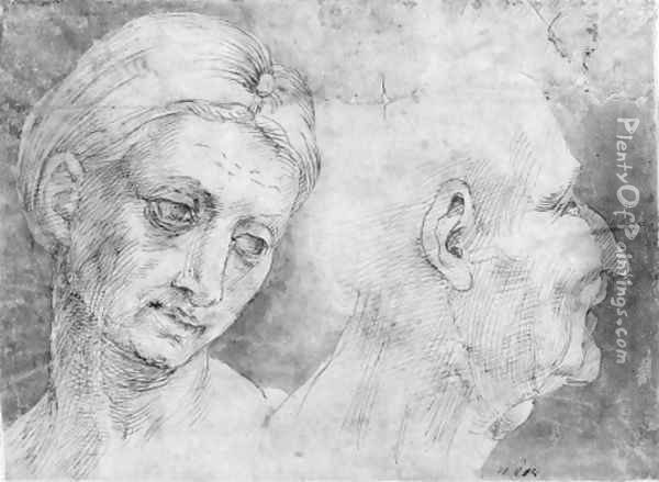 The heads of a woman and a man Oil Painting - Bartolomeo Bandinelli