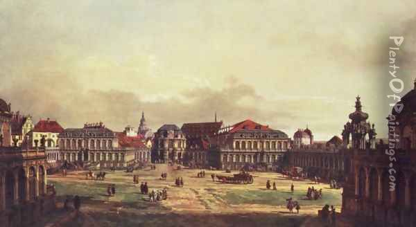 View of Dresden, Zwingerhof in Dresden, from the fortress works view Oil Painting - Bernardo Bellotto