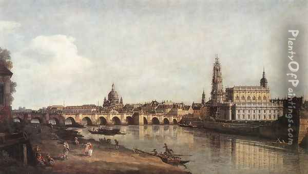 View of Dresden from the Right Bank of the Elbe with the Augustus Bridge Oil Painting - Bernardo Bellotto