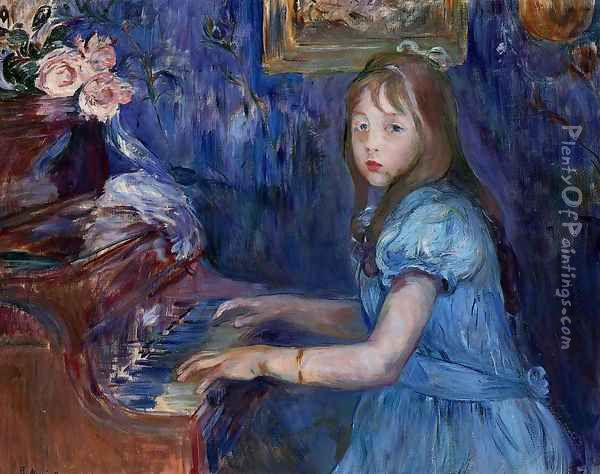 Lucie Leon At The Piano Oil Painting - Berthe Morisot