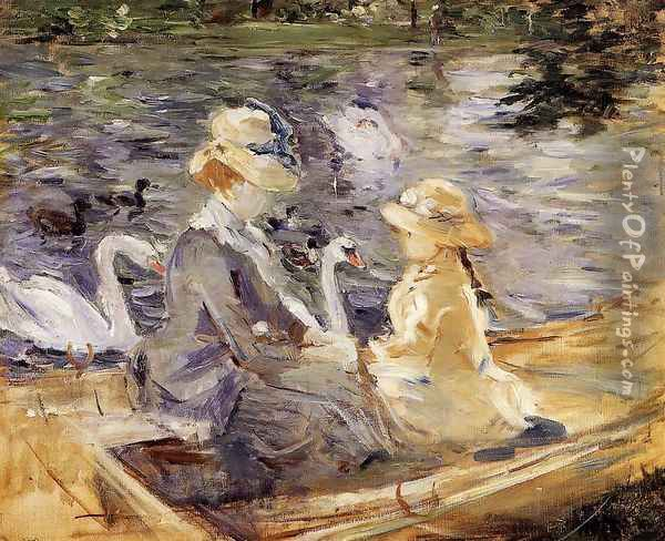 On The Lake In The Bois De Boulogne Oil Painting - Berthe Morisot