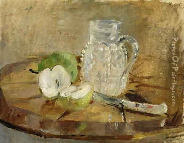 Still Life with a Cut Apple and a Pitcher 1876 Oil Painting - Berthe Morisot