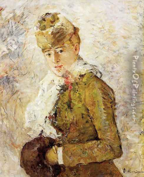 Winter (Woman with a Muff) 1880 Oil Painting - Berthe Morisot