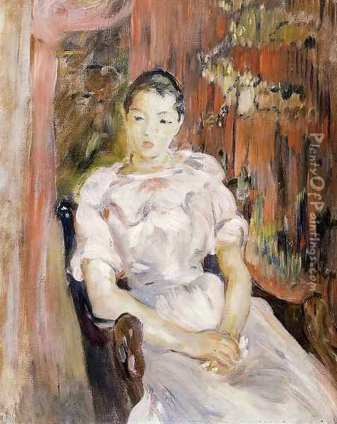 Young Girl Resting Oil Painting - Berthe Morisot