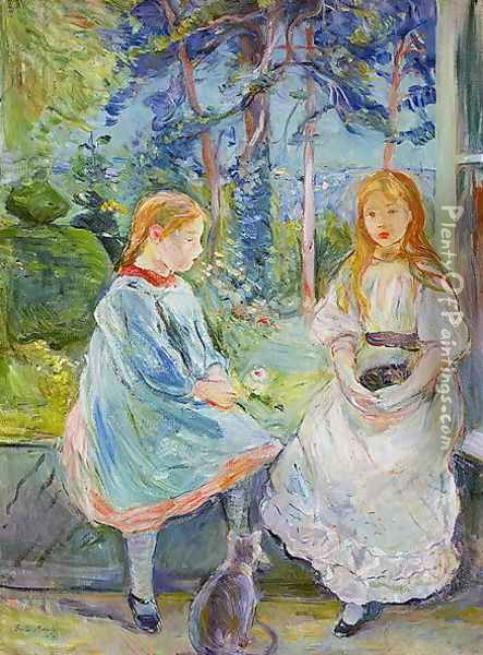 Young Girls at the Window 1892 Oil Painting - Berthe Morisot