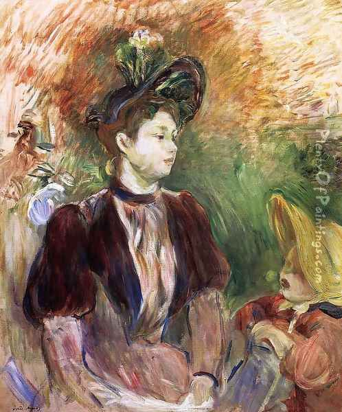 Young Woman And Child Avenue Du Bois Oil Painting - Berthe Morisot