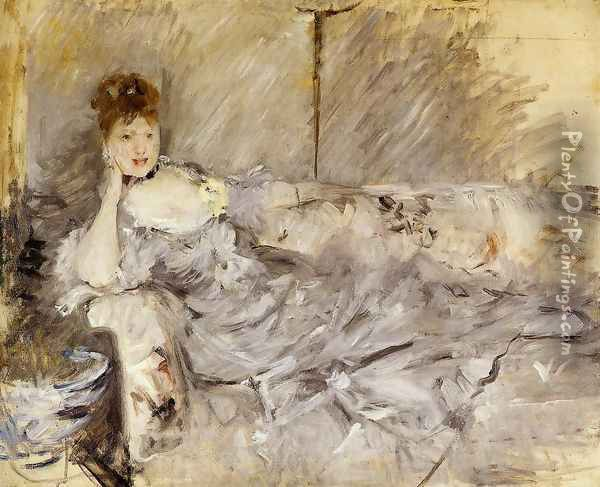 Young Woman In Grey Reclining Oil Painting - Berthe Morisot