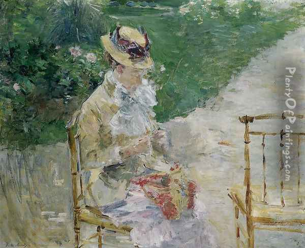 Young Woman Sewing in the Garden Oil Painting - Berthe Morisot