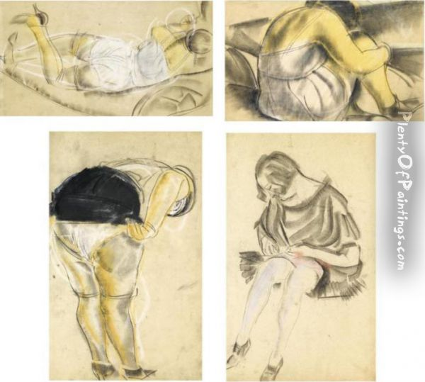 A Group Of 4 Erotic Drawings