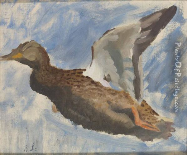 Flygande And Oil Painting - Bruno Andreas Liljefors